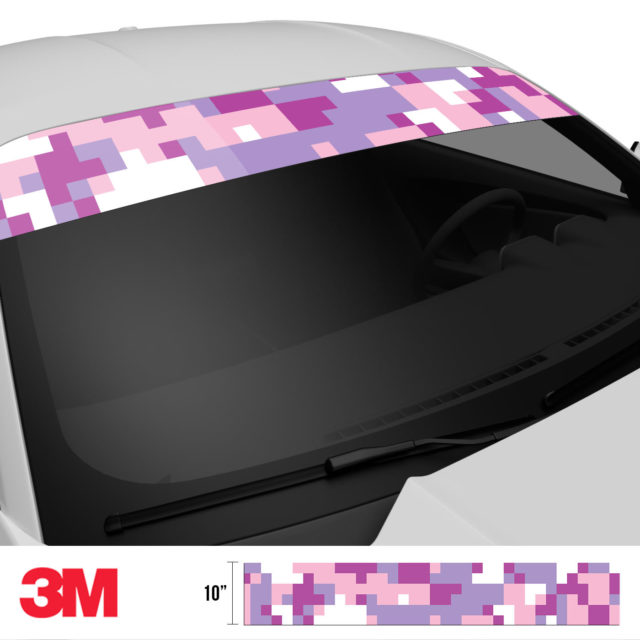 Mulberry Pink Digital Camo Windshield Sun Strip Side 2