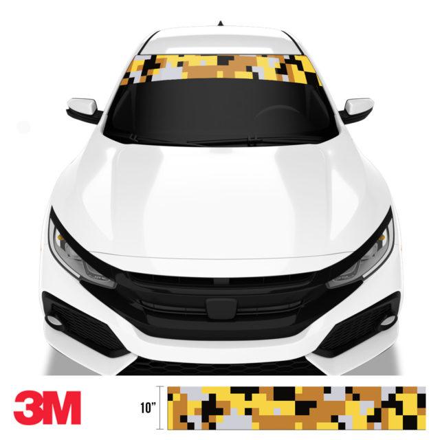 Mustard Steel Digital Camo Windshield Sun Strip Front