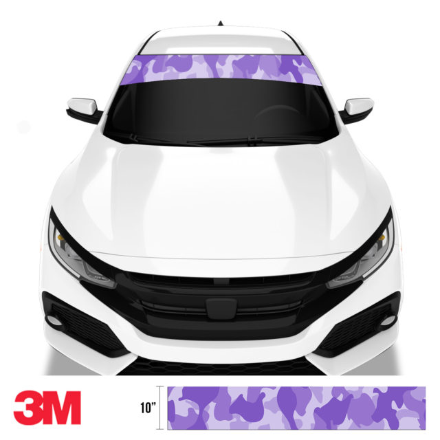 Orchid Purple Camo Windshield Sun Strip Front