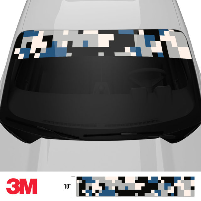 Oxford Blue Digital Camo Windshield Sun Strip Front 2