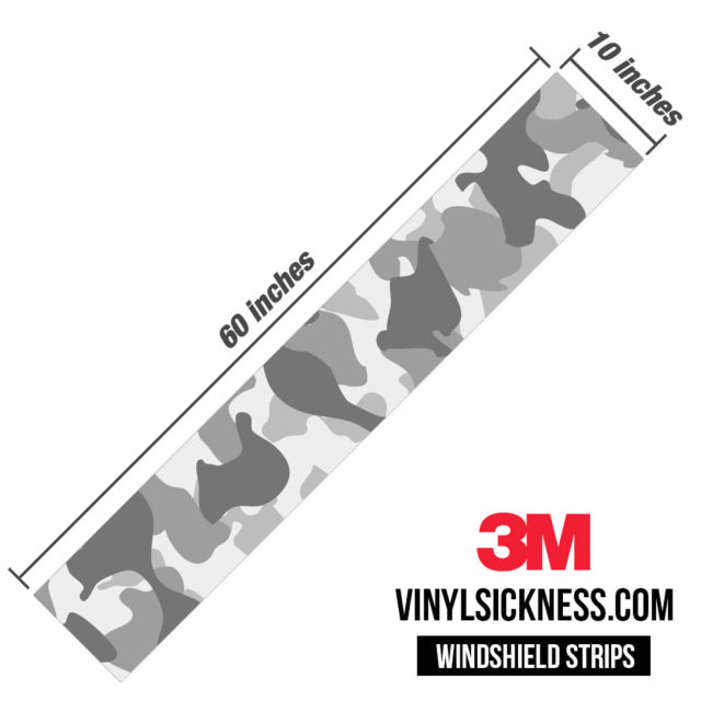 Pearl Grey Silver Camo Windshield Sun Strip Dimension