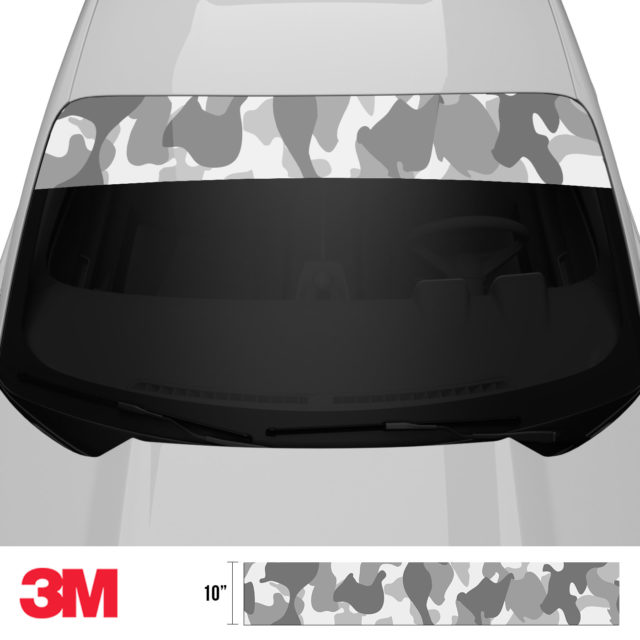 Pearl Grey Silver Camo Windshield Sun Strip Front 2