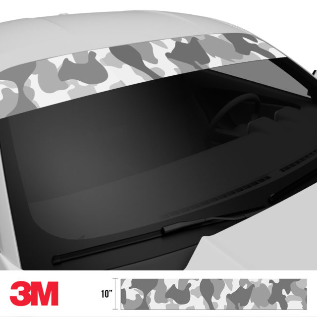 Pearl Grey Silver Camo Windshield Sun Strip Side 2