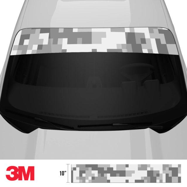 Pearl Grey Silver Digital Camo Windshield Sun Strip Front 2