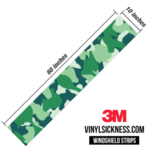 Pine Fern Camo Windshield Sun Strip Dimension