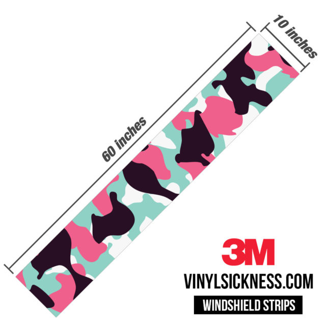 Pink Sky Camo Windshield Sun Strip Dimension