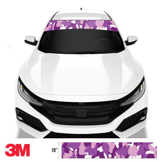 Plum Purple Camo Windshield Sun Strip Front
