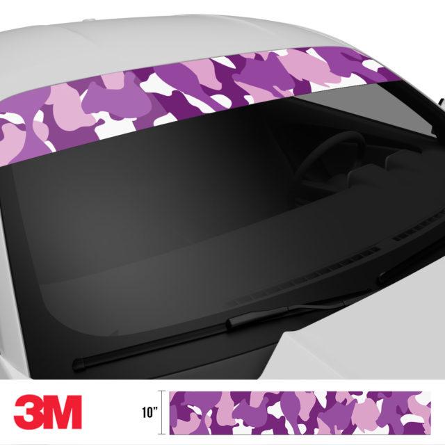 Plum Purple Camo Windshield Sun Strip Side 2