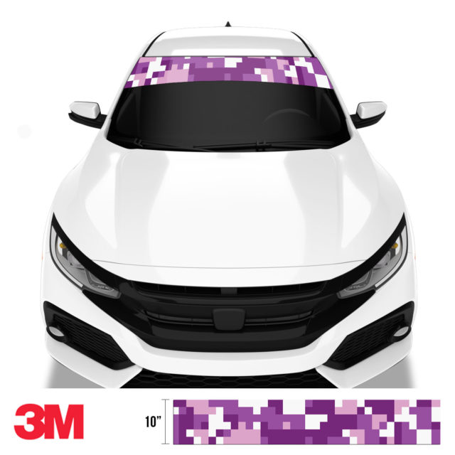 Plum Purple Digital Camo Windshield Sun Strip Front
