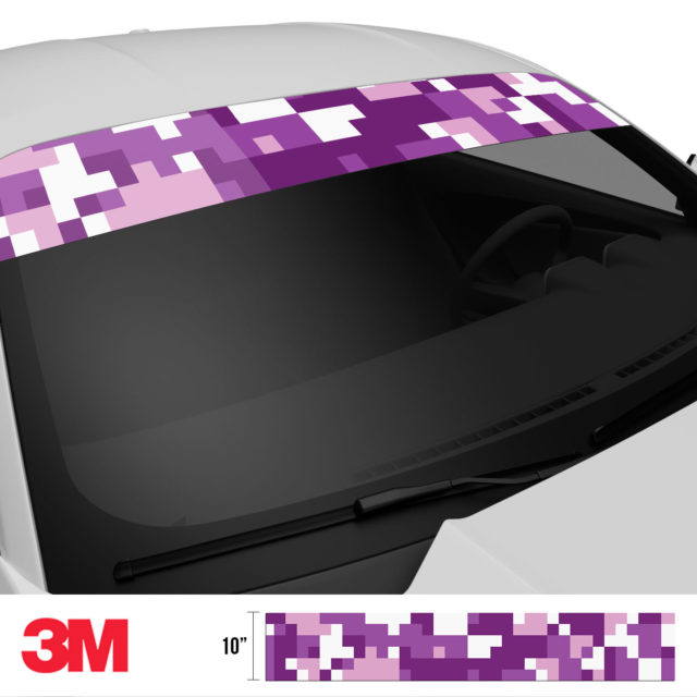 Plum Purple Digital Camo Windshield Sun Strip Side 2