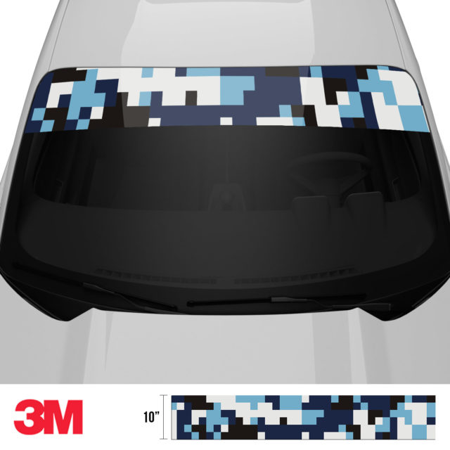 Powder Blue Digital Camo Windshield Sun Strip Front 2