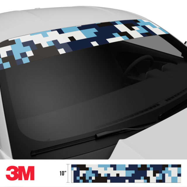 Powder Blue Digital Camo Windshield Sun Strip Side 2