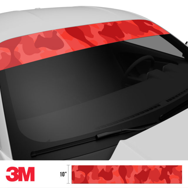 Punch Red Camo Windshield Sun Strip Side 2