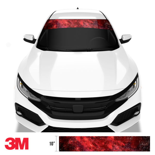 Red Galaxy Windshield Sun Strip Front