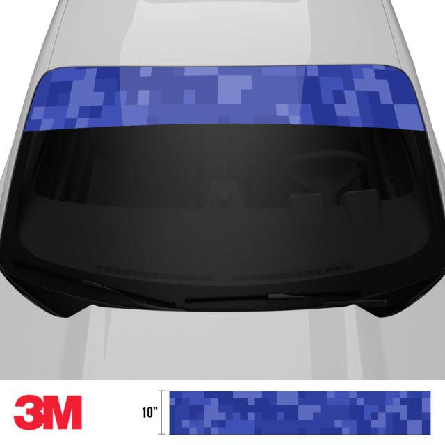 Royal Blue Digital Camo Windshield Sun Strip Front 2