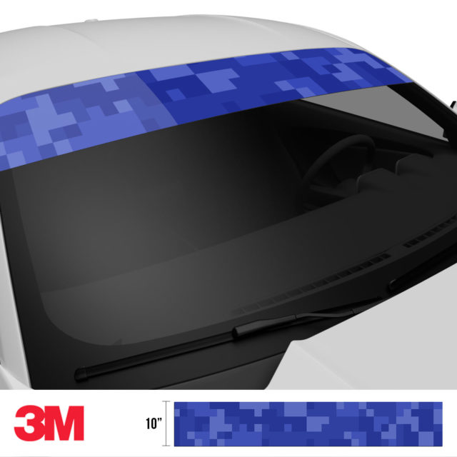 Royal Blue Digital Camo Windshield Sun Strip Side 2