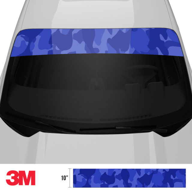 Royal Blue Windshield Sun Strip Front 2