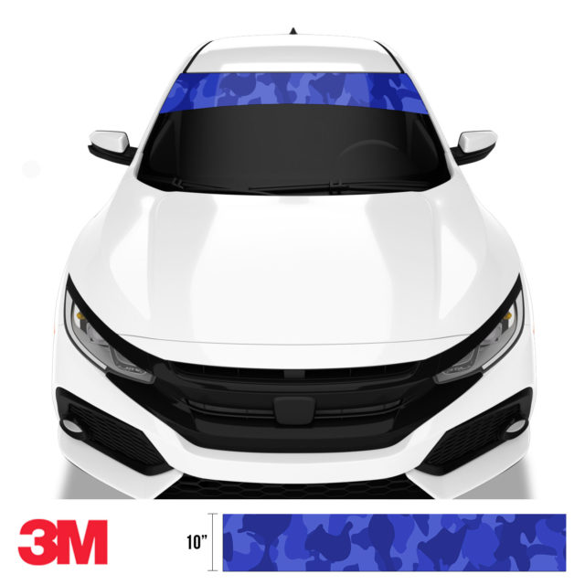 Royal Blue Windshield Sun Strip Front