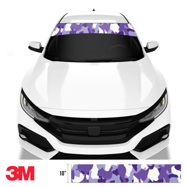 Royal Purple Camo Windshield Sun Strip Front