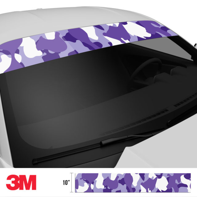 Royal Purple Camo Windshield Sun Strip Side 2