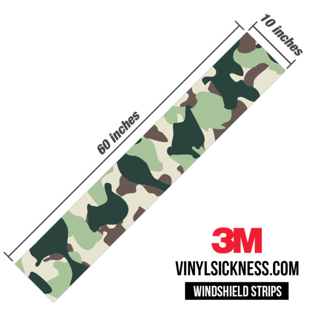 Sage Sacramento Camo Windshield Sun Strip Dimension