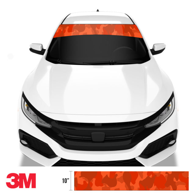 Scarlet Red Camo Windshield Sun Strip Front