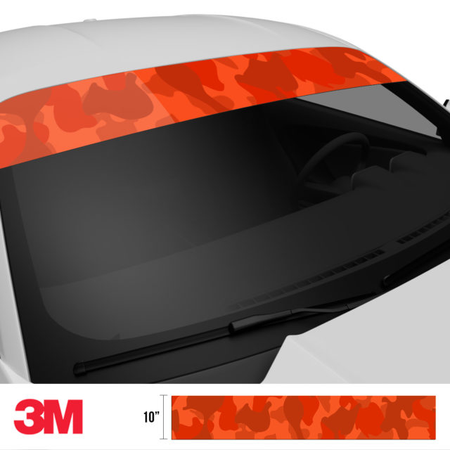 Scarlet Red Camo Windshield Sun Strip Side 2