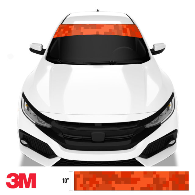 Scarlet Red Digital Camo Windshield Sun Strip Front