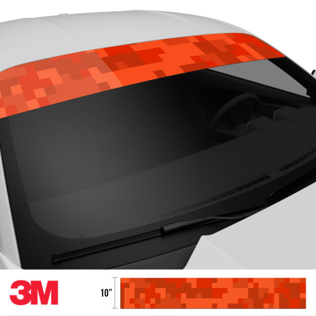 Scarlet Red Digital Camo Windshield Sun Strip Side 2