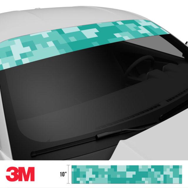 Sea Green Digital Camo Windshield Sun Strip Side 2