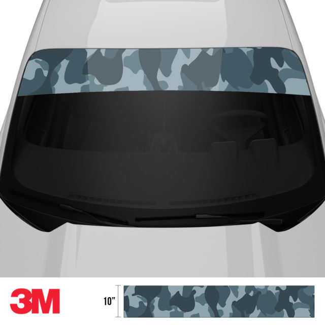 Slate Grey Camo Windshield Sun Strip Front 2