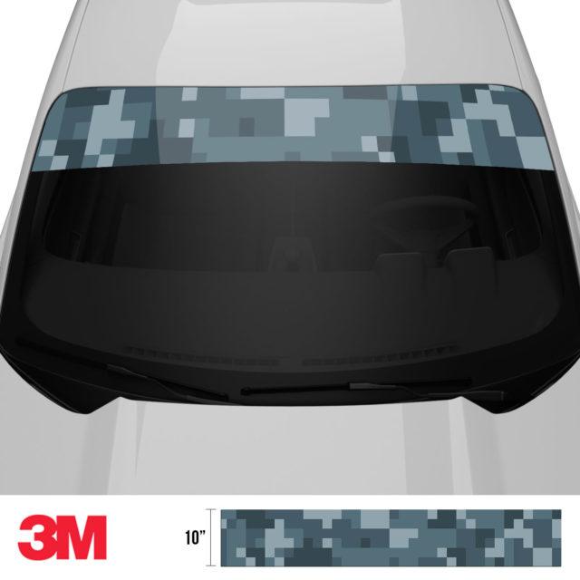 Slate Grey Digital Camo Windshield Sun Strip Front 2