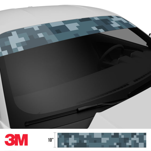 Slate Grey Digital Camo Windshield Sun Strip Side 2