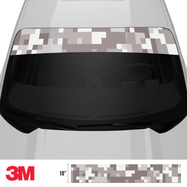 Smokey Taupe Digital Camo Windshield Sun Strip Front 2