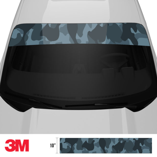 Spruce Cobalt Camo Windshield Sun Strip Front 2