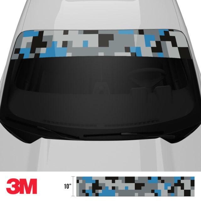 Steel Blue Digital Camo Windshield Sun Strip Front 2