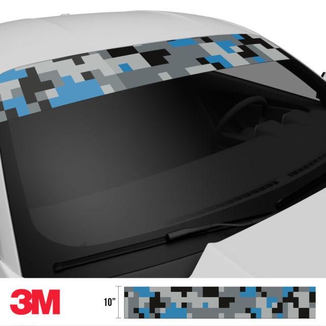 Steel Blue Digital Camo Windshield Sun Strip Side 2