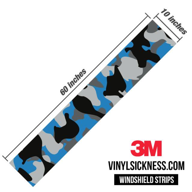 Steel Blue Windshield Sun Strip Dimension