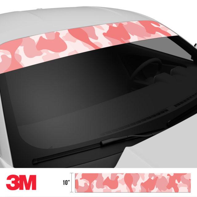 Taffy Pink Camo Windshield Sun Strip Side 2