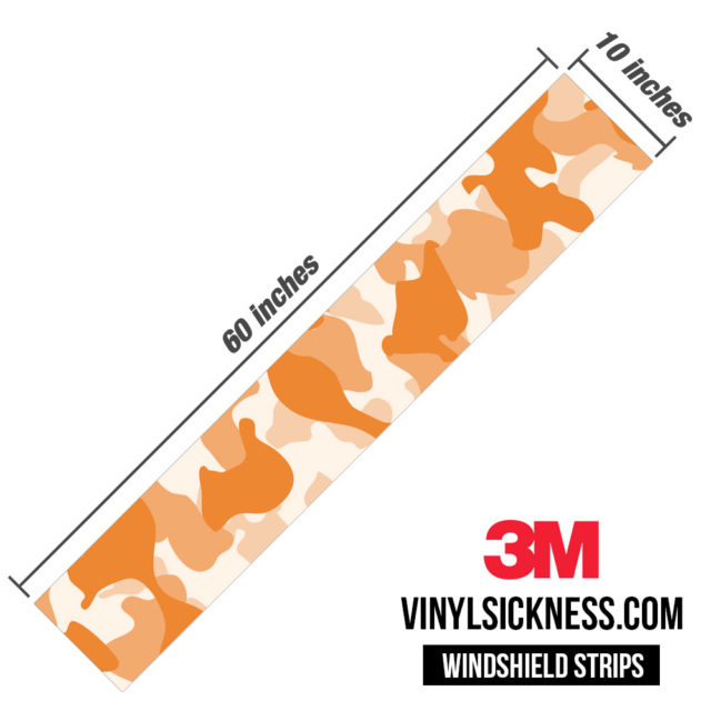 Tangerine Camo Windshield Sun Strip Dimension