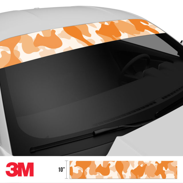Tangerine Camo Windshield Sun Strip Side 2