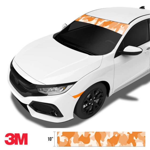 Tangerine Camo Windshield Sun Strip Side