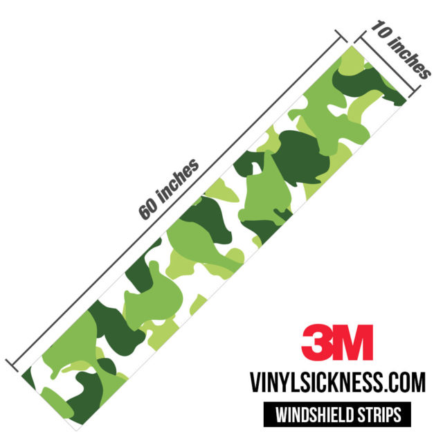Tropical Green Camo Windshield Sun Strip Dimension