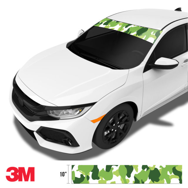Tropical Green Camo Windshield Sun Strip Side