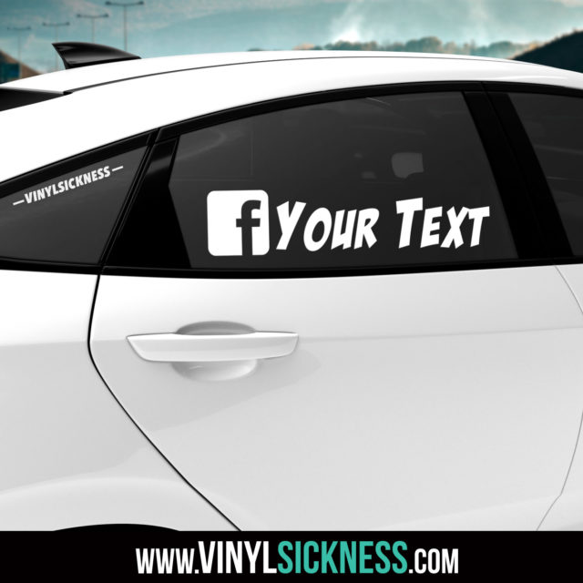 Custom Facebook Social Tag Sticker Decal Tinted Glass