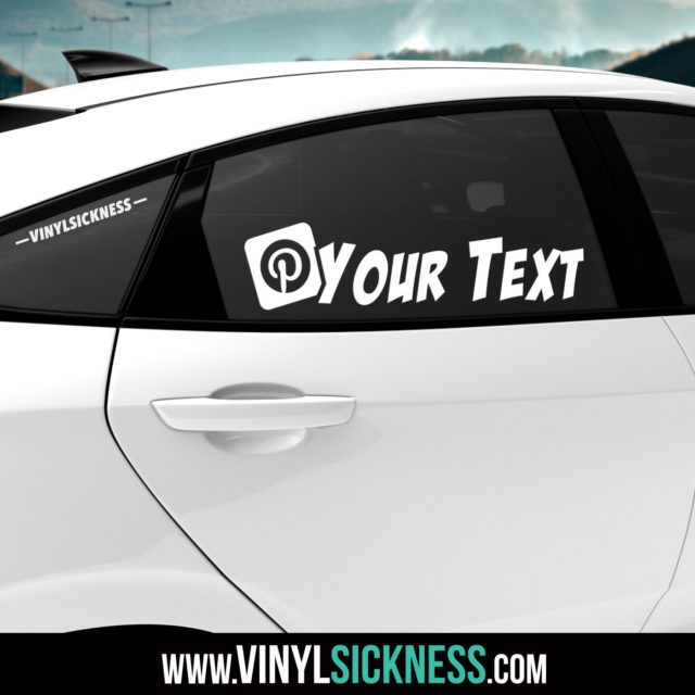 Custom Pinterest Boxed Slanted Social Tag Sticker Decal Tinted Glass