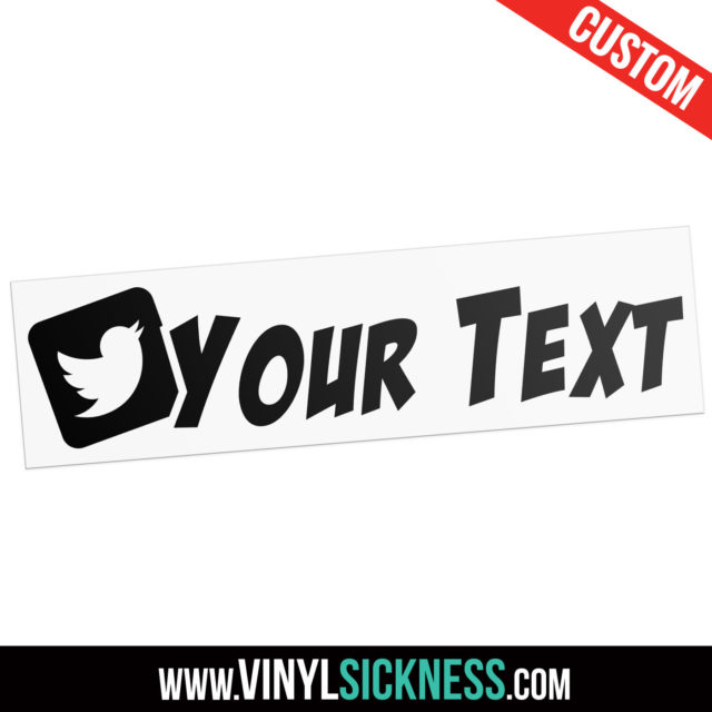 Custom Twitter Boxed Slanted Social Tag Sticker Decal Main
