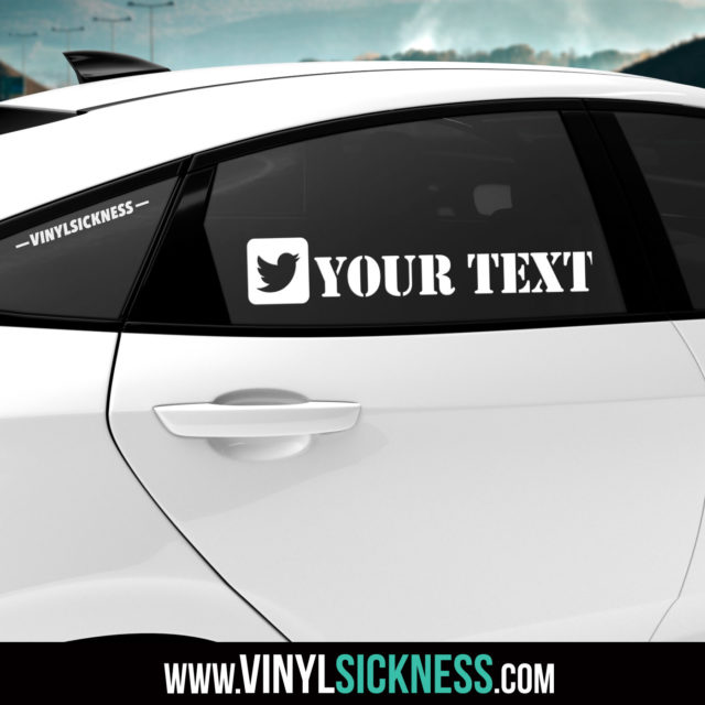 Custom Twitter Boxed Social Tag Sticker Decal Tinted Glass