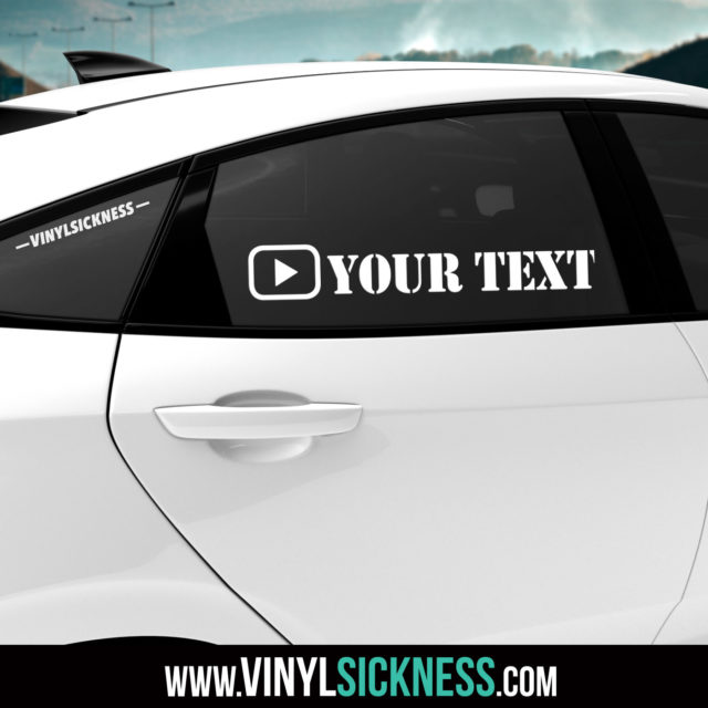 Custom Youtube Icon 2 Social Tag Sticker Decal Tinted Glass