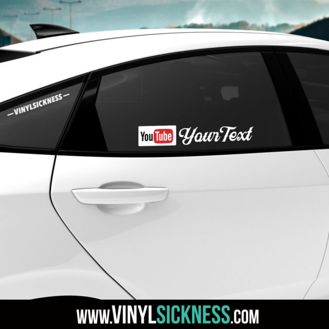 Custom Youtube Social Sticker Tag Car Tinted Window
